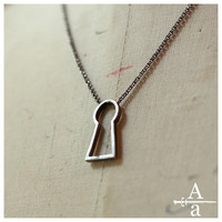 Sterling silver keyhole necklace by ArmsandArmory on Etsy