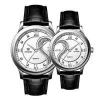 Fq-102 UltrathinFq-102 Ultrathin Leather Romantic Crystals Pair Fashionable Wrist Watches Sets for Couples White 1 Pair