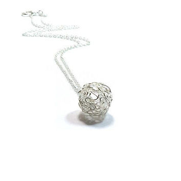 Sterling Silver Wire Ball  Pendant Necklace