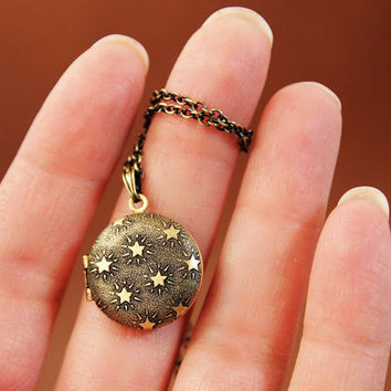 Seeing Stars Mini Round Locket Necklace with by HeartworksByLori