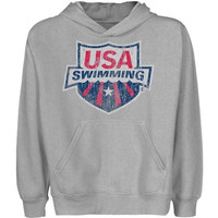 USA Swimming Youth Distressed Crest Pullover Hoodie - Ash - http://www.shareasale.com/m-pr.cfm?merchantID=7124&userID=1042934&productID=528459238 / USA Swimming