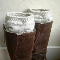 Fashion Cable knit boot toppers - Cream Boot cuffs - Beige Leg Warmers - Winter Fashion - Cozy legwarmers - Winter Acessory