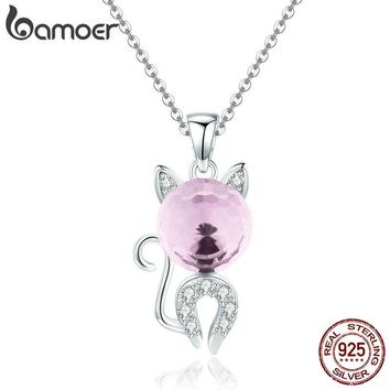 BAMOER Fashion 925 Sterling Silver Lovely Cat Pink Crystal CZ Kitten Pendant Necklaces for Women Sterling Silver Jewelry SCN294