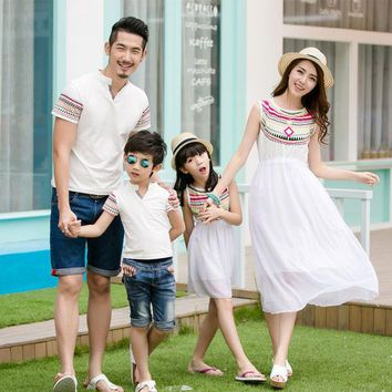 DCCKL3Z Ethnic Style Family Vacations Summer Matching Outfit Totem Mother Daughter Chiffon Dress Dad Son Short Sleeve V neck T-Shirt