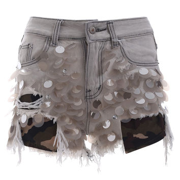Chic Fringe Scale Sequined Tattered Denim Shorts