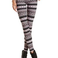 Cotton Tribal Print Leggings by Charlotte Russe - Black Combo