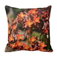 Red Orange Cactus Blossoms Throw Pillow