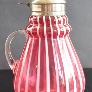 Antique Cranberry Opalescent Striped Art Glass Victorian Syrup Hobbs Brockunier Co