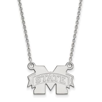 NCAA Sterling Silver Mississippi State Small M State Pendant Necklace
