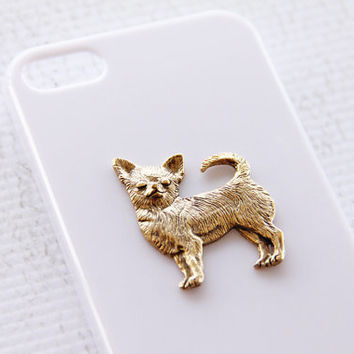 Chihuahua iPhone 5 and 5s White Plastic Trendy Cellphone Cover with Gold Plating iPhone 6 Case