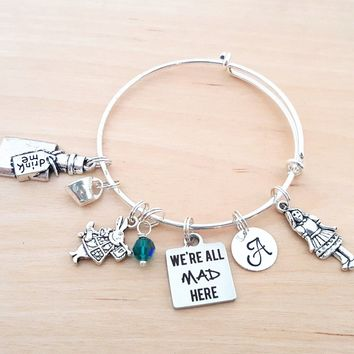 Alice in Wonderland Bracelet - We're All Mad Here - Personalized Bracelet - Adjustable Bangle - Birthstone Bracelet - Personalized Jewelry