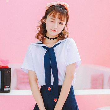 Kawaii Student Sailor Collar  T-shirt