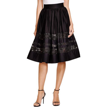 Alice + Olivia Womens Lace Pleated A-Line Skirt