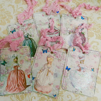Marie Antoinette Gift Tags French Gift Tags Set 6 Seam Binding Ribbon Victorian Tags