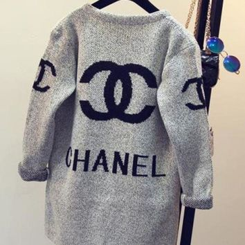 Chanel Fashion Casual Long Sleeve Hooded Sweater Knit Cardigan Jacket Coat