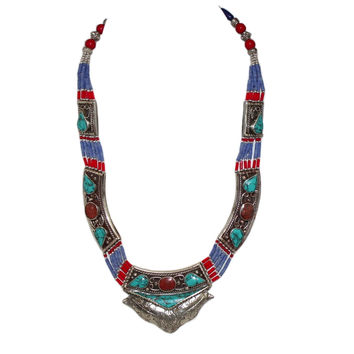 Turquoise Necklace Coral Lapis boho Necklace