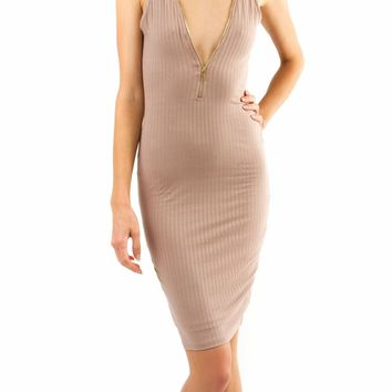 Zip Front Ribbed Tank Dress