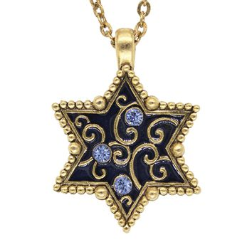 Reversible Filigree Cobalt Star of David Necklace by Quest, Jewelry Size: 1.5x1