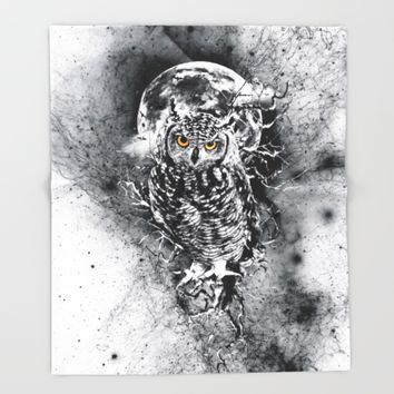 OWL BW Throw Blanket by RIZA PEKER