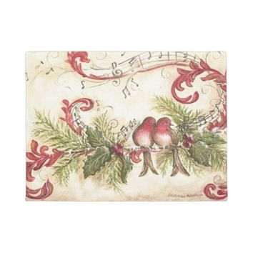 Beautiful Birds, Music Notes, Holly, Christmas Doormat