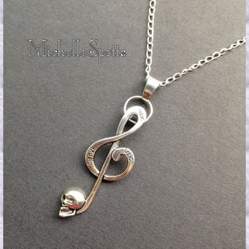 Skull Music Necklace Skull Necklace Music Note Necklace Treble Clef Leather Necklaces Charm Bracelets Punk Rock