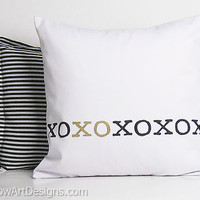 XO Pillow Cover Minimalist Design Kisses and Hugs Hand Painted White Black Metallic Gold 16 X 16