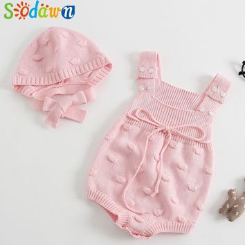 Sodawn 2018 New Spring Autumn Baby Romper Boys Girls Baby Knitted Handmade Sweater Newborn Baby Clothes  Infant Knitted Jumpsuit