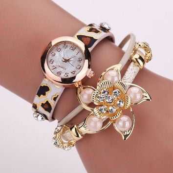 VLX2WL Stylish Jewelry Vintage Floral Pendant Pearls Ladies Watch Bracelet Watch [8863749959]