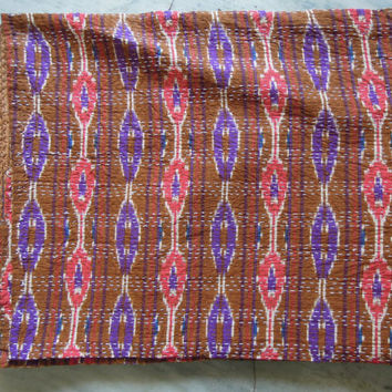 Brown Queen Ikat Patola Kantha Quilt Blanket - Cotton Quilted Bedspreads,Throws,Ralli,Gudari Handmade Tapestery REVERSIBLE Bedding