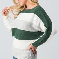 Color Block Sweater - Olive