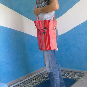 Moroccan messenger bag natural wool, 37cm tall x 33cm wide Free shipping!!!!