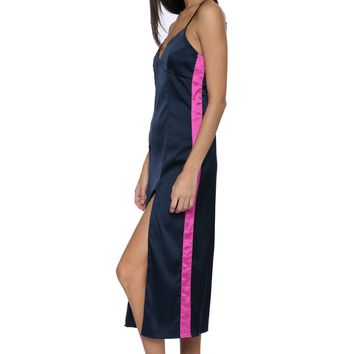 Decker Satin Side Stripe Maxi Dress