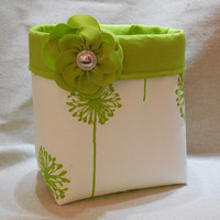 Striking Lime Green and White Fabric Basket