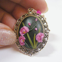 Magenta Orchid Pendant - Handmade Jewelry, Polymer Clay Applique, Flower Pendant Necklace,Gift for Gardener,Fertility Gift,