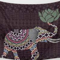 Elephant Tapestry Wall Hanging Indian Henna