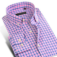 CAIZIYIJIA 2017 Men's Long-Sleeve Contrast Color Plaid Shirts Comfort Soft 100% Cotton Casual Slim-fit Button-Down Dress Shirt