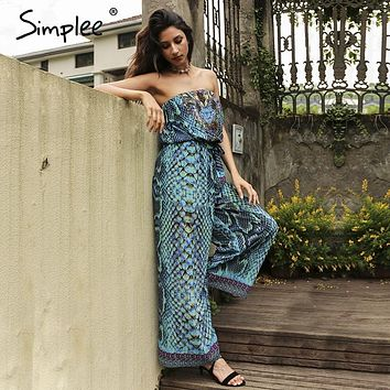 Simplee Summer beach leopard women jumpsuit romper Causal boho elastic chiffon drilling playsuit Elegant sexy women overalls