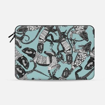 just lizards mist blue Macbook Pro 13 sleeve by Sharon Turner | Casetify