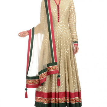 Beige color Long Anarkali suit