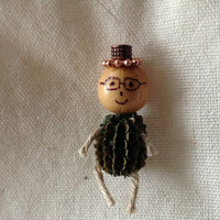 Custom Miniature Ornaments - Small Pine Cone - Pod Seed - Wood bead - Rope - Christmas Ornament - Cute Ornament Doll