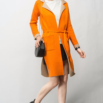 Color Block Knit Coat TP0310