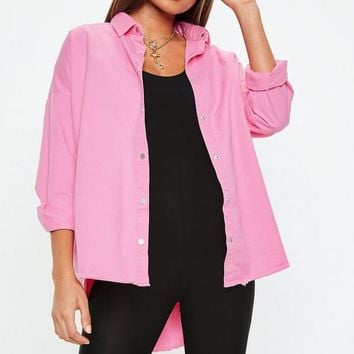 Missguided - Pink Oversized Denim Shirt