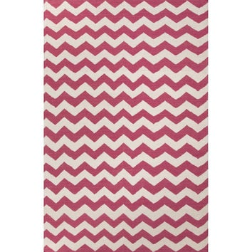 Jaipur Rugs FlatWeave Geometric Pattern Pink/Ivory Wool Area Rug MR98 (Rectangle)