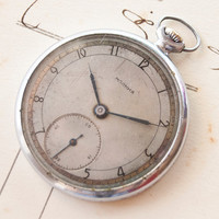 Antique mens pocket watch Molnija silver tone rare by SovietEra