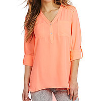 GB Hi-Low Lace Contrast Blouse - Peach