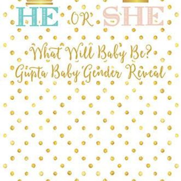 He Or She Baby Gender Reveal Prince Princess Backdrop Background - C0130