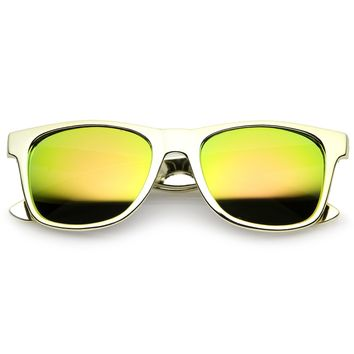 42172d10326d7 Retro Metallic Square Colored Mirror Lens Horn Rimmed Sunglasses 55mm