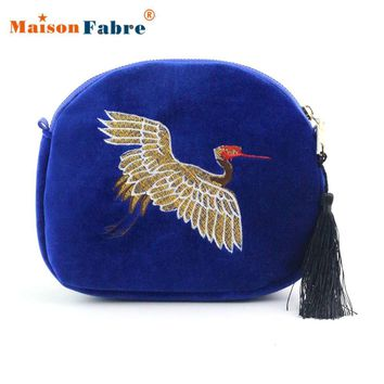 Women New Embroidery Crane Classical Travel Tassel Bag Girls Elegant Shoulder Bag Female Fashion Crossbody Bag Money Purse Dec23