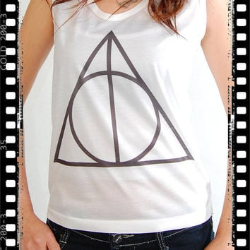 Deathly Hallows Symbol Harry Potter Pop Punk Rock Women Tank Top Crop Vest T-shirt Size S,M,L