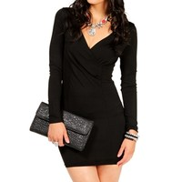 Black Faux Wrap Tunic